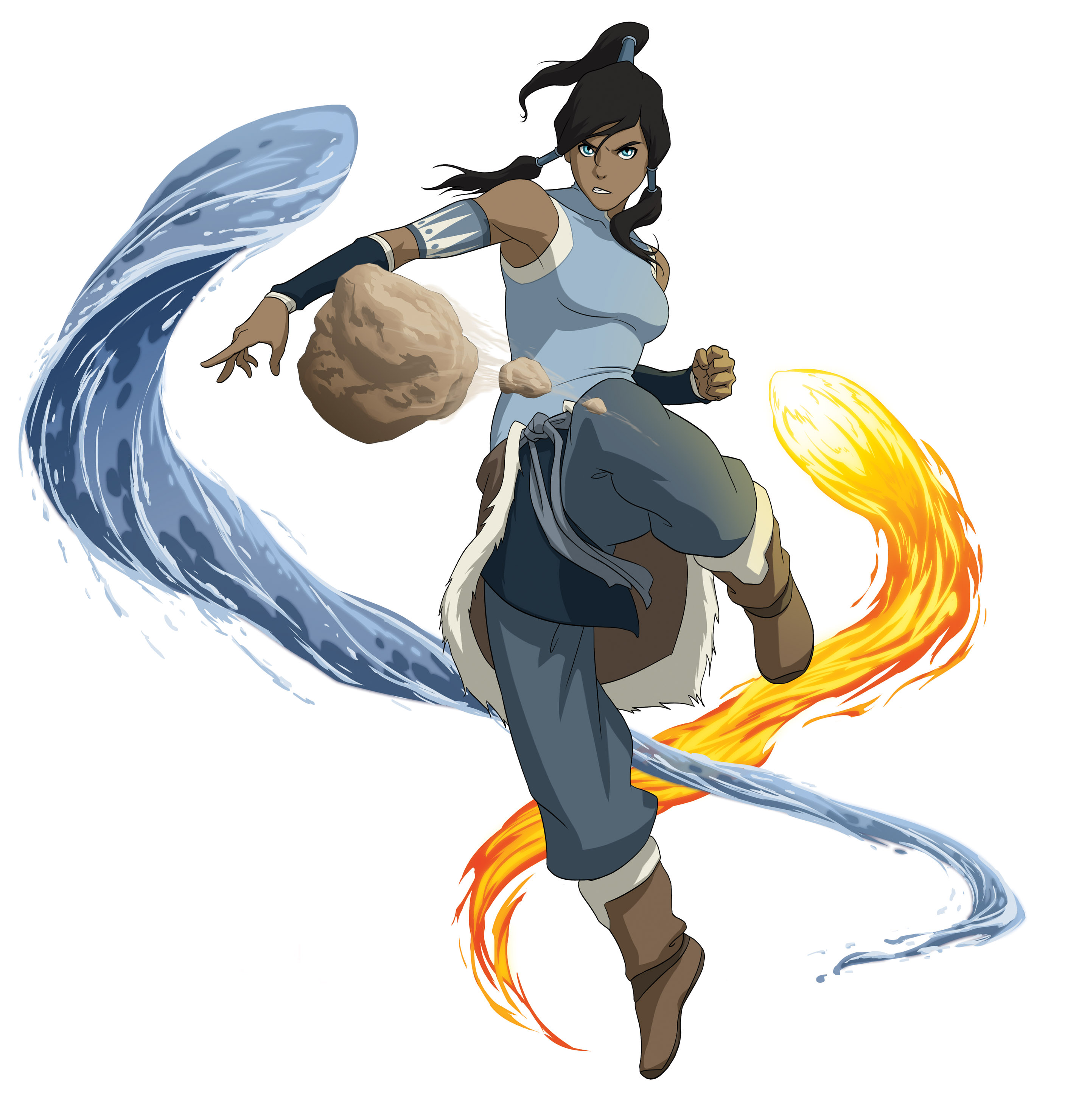 Pictured: Korra displays earth, water and firebending in THE LEGEND OF KORRA on Nickelodeon. Photo: Nickelodeon. ©2012 Viacom, International, Inc. All Rights Reserved